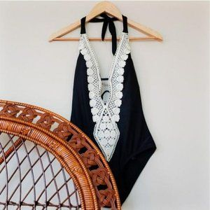 NEW * Mossimo One Piece Boho Plunge V Front Small